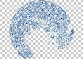 孔雀图案,蓝色和白色瓷色孔雀PNG剪贴画蓝色,白色,颜色飞溅,动物,