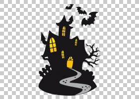 卡通万圣节绘图,城堡的PNG剪贴画剪影,巫术,闹鬼的房子,树,可缩放