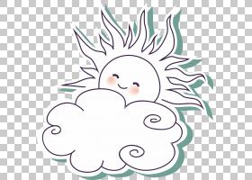 卡通云,太阳PNG剪贴画白,叶,文本,分支,头,夏天,虚构人物,阳光,花