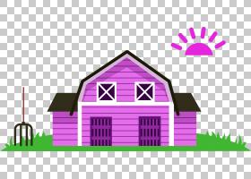 卡通农业,紫色房子PNG剪贴画紫色,建筑,徽标,橘,洋红色,矢量装饰,