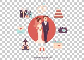 卡通动画,元素一对可爱的情侣婚礼PNG剪贴画爱,假期,文本,摄影,婚