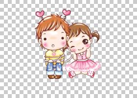 卡通情侣,可爱的夫妻PNG剪贴画爱,孩子,友谊,夫妇,蹒跚学步,男孩,