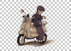 卡通水彩画,卡通摩托车PNG剪贴画卡通人物,手,滑板车,漫画,摩托车