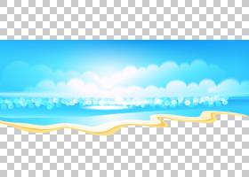 卡通海滩,卡通新鲜夏季海滩PNG剪贴画卡通人物,蓝色,文本,云,气氛