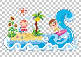 卡通海滩风浪,蓝色海洋海滩PNG剪贴画蓝色,海滩,儿童,文本,生日快