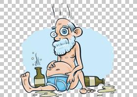 卡通版税 - 酒精中毒,醉酒的老人与卡通PNG剪贴画卡通人物,哺乳动
