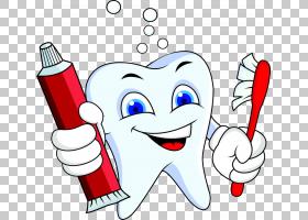 卡通牙病理学,持牙膏牙刷牙卡通PNG剪贴画爱,卡通人物,文本,手,摄