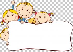 卡通绘图,可爱的卡通小孩框架,儿童PNG剪贴画框架,哺乳动物,儿童,