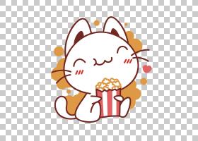 可口可乐爆米花吃小吃,吃爆米花小猫PNG剪贴画png材料,儿童,食品,