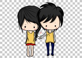 卡通绘图赤壁动漫,动漫情侣PNG剪贴画爱,孩子,黑色头发,友谊,夫妇