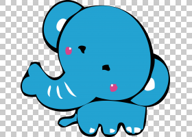 卡通蓝色,卡通可爱小蓝象大象PNG剪贴画卡通人物,蓝色,海洋哺乳动