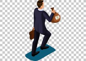 卡通钱,一个男人用钱袋子PNG剪贴画手,业务人,生日快乐矢量图像,