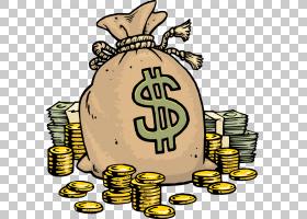 卡通钱袋子,钱袋子,美元袋和钞票PNG剪贴画royaltyfree,美国美元,