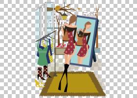 卡通镜子,镜子穿着的女人PNG剪贴画cdr,业务女人,家具,生日快乐矢