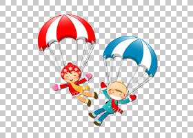 卡通降落伞,降落伞男女PNG剪贴画女性配饰,印度裸女,男孩,虚构人