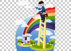 卡通,男人看着PNG剪贴画业务,卡通人,矢量天空,rGB颜色模型,天空,