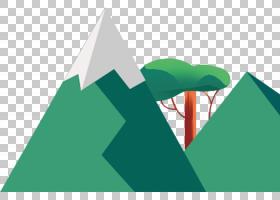 卡通,青山树装饰平卡通PNG剪贴画水彩画,模板,角度,画,文本,树科,