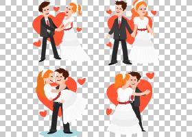 卡通Adobe Illustrator欧几里德婚礼,4卡通新娘和新郎设计PNG剪贴
