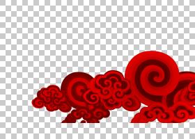 云欧几里德,简单的红云PNG剪贴画爱,框架,中国风格,文本,心,底纹,
