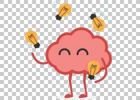 人脑脑半球业务创造力,脑PNG剪贴画橙色,人,卡通,脑,小胶质细胞,