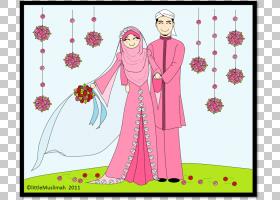 伊斯兰婚姻做法婚姻婚礼卡通,丈夫和妻子的战斗PNG剪贴画爱,文本,