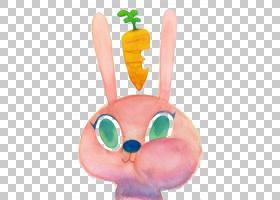 兔子艺术,手绘卡通兔子PNG剪贴画水彩画,儿童,画,动物,画布,卡通,