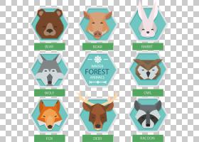 六角形,六角冬季森林动物头PNG剪贴画哺乳动物,冬季,食肉动物,狗
