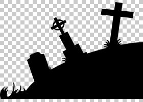 剪影公墓,僵尸剪影的PNG剪贴画单色,卡通,黑色和白色,可缩放矢量