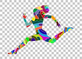 剪影版税,比赛PNG剪贴画的五颜六色的字符卡通人物,颜色飞溅,摄影