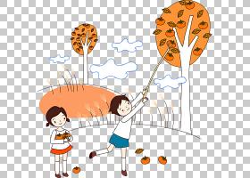 卡通,一个孩子采摘柿子PNG剪贴画白色,儿童,白云,剪影,简,笔,水果