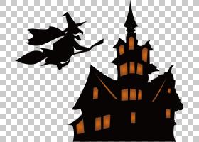万圣节恐怖游戏,!巫术剪影,回到城堡巫婆PNG剪贴画卡通,城堡,迪