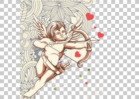丘比特,复古射箭儿童PNG剪贴画爱,心,人民,复古模式,生日快乐矢量
