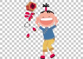 中国新年爆竹卡通,中国新年PNG剪贴画孩子,假期,中国风格,手,福,