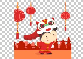 中国新年舞狮,中国新年舞狮女孩PNG剪贴画灯笼,假期,中国风格,橙