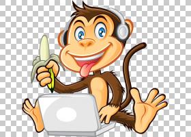 猴子卡通,可爱的猴子PNG剪贴画哺乳动物,动物,手,计算机,脊椎动物