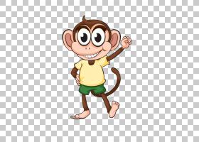 猴子卡通猿大猩猩,可爱的卡通猴子PNG剪贴画卡通人物,哺乳动物,动