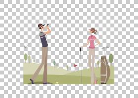 高尔夫球场 - ,卡通男女打高尔夫球PNG剪贴画卡通人物,游戏,摄影,