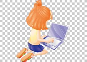 电脑卡通,玩电脑女孩PNG剪贴画孩子,时尚女孩,手,橙色,生日快乐矢