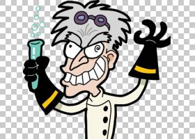 疯狂科学家科学实验室,疯狂科学的PNG剪贴画实验,卡通,科学家,男,