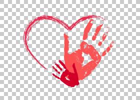 红色心形掌纹,粉红色手打印PNG剪贴画爱,T恤,儿童,文本,手,心脏,