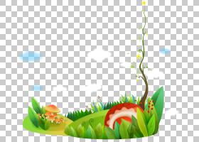 绘制Adobe Illustrator卡通,卡通画藤树绿草和花PNG剪贴画水彩画,