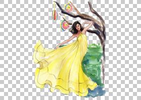 绘图时尚插画,黄色连衣裙PNG剪贴画水彩画,画,手,时尚,虚构人物,