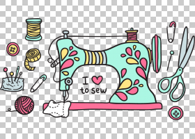 缝纫机,薄荷绿机,青色和粉红色缝纫机PNG剪贴画文本,纺织,销,生日