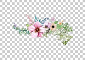 花,手绘水彩花卉装饰图案,粉红色,紫色和棕色花瓣绘画PNG剪贴画水