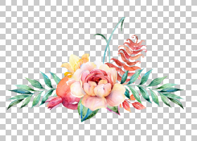 花卉设计水彩绘画,水彩花卉装饰,粉红色玫瑰与蓝色背景PNG剪贴画