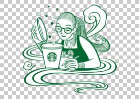 茶咖啡海报,星巴克PNG剪贴画文本,徽标,单色,头,虚构人物,卡通,女