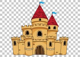城堡卡通绘图,老城堡,米色和红色城堡动画PNG剪贴画建筑,中世纪建