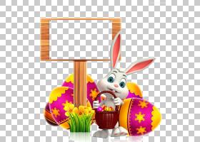 复活节兔子兔子复活节彩蛋,卡通兔子颜色材料PNG剪贴画卡通人物,
