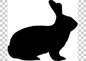 复活节兔子野兔剪影,兔子剪影的PNG剪贴画哺乳动物,狗像哺乳动物,
