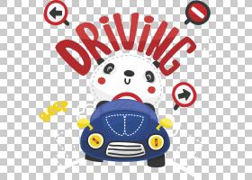 大熊猫汽车京东,驾驶熊猫PNG剪贴画标志,汽车,卡通,运输,封装Post